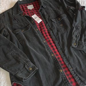 Distressed flannel/jacket with buttons